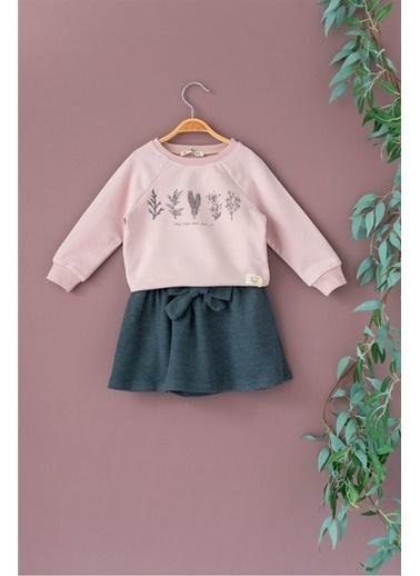 Cigit Nature Sweatshirt ve Etek Takım Pudra